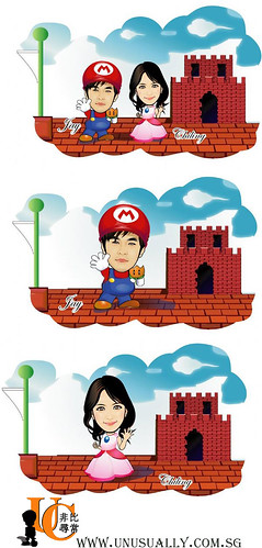 Caricature Super Mario Couple Drawing