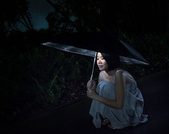 safe from the dark (f1point7) Tags: park woman girl night umbrella silver dress flash reflective metz kentridge strobist