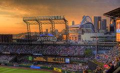Day 2/365....Safeco Sunset (Justin Kraemer Photography) Tags: seattle sunset field skyline stadium mariners safeco spaceneedle qwestfield safecofield clevelandindians hdr seattlemariners mlb seattleskyline majorleaguebaseball