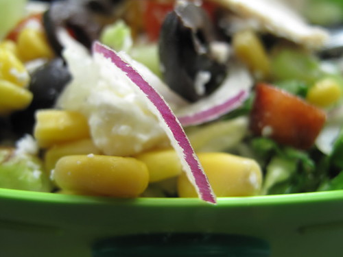 Red onion in salad
