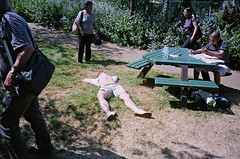 > (ponyintheair) Tags: uk summer england sun white green london english film table purple contax shorts t3 wimbledon sunbathing july09