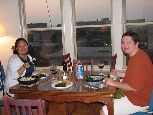 Sarah and Grant enjoying dinner