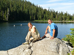 Hannah and Steve taking a break at Lost Lake