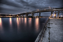 Skyway Bridge - Burlington /  Hamilton (Raf Ferreira) Tags: bridge ontario canada reflection water night clouds burlington lights long exposure hamilton rafael hdr skyway hfg ferreira peixoto