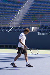 Jo-Wilfried Tsonga practices in the Grandstand (Andrew St. Clair) Tags: nyc newyorkcity newyork flushingmeadows queens tennis practice racket grandstand tenniscourt usopen louisarmstrongstadium jowilfriedtsonga
