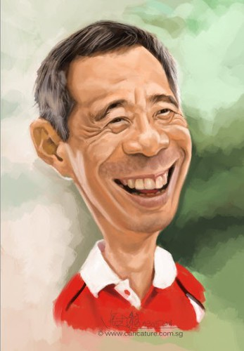 Digital caricature of Singapore Prime Minister Lee Hsien Loong - 3