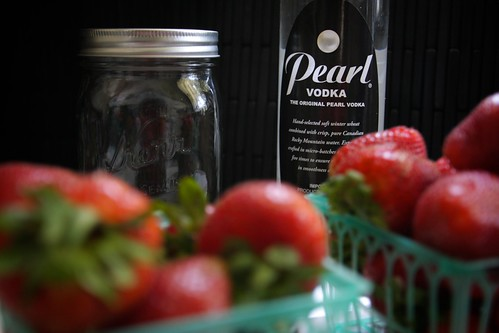 jar + vodka + strawberries