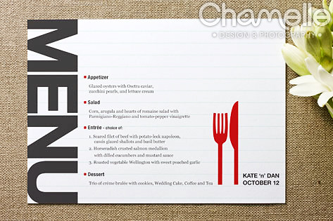 Wedding menu card design