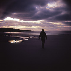 beach walker (atomicjeep) Tags: holiday 120 beach mediumformat square scotland velvia diana vicki tiree drovers bsquare