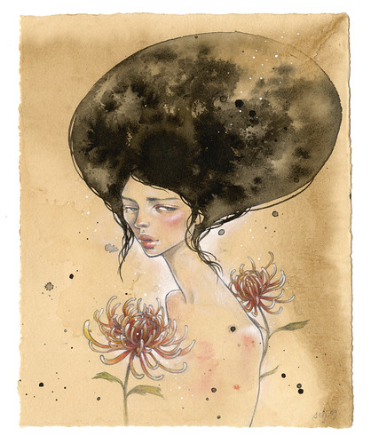 "Silent Bloom. 7""x9"". Ink, Graphite, Watercolor wash on Tea-Stained Paper. ©2009"