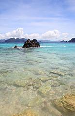 rock (joykafka) Tags: ocean vacation sky holiday tree beach coral rock island sand honeymoon tide shell palm hut isle palawan philippine lagen miniloc