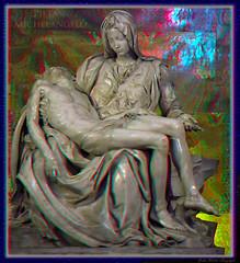 Pieta: Michelangelo: Anaglyph (kiwizone) Tags: red vatican rome stereoscopic cyan anaglyph stereo michelangelo pieta stpetersbasilica redcyan tonemapping