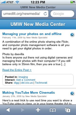 UMW New Media iPhone Version