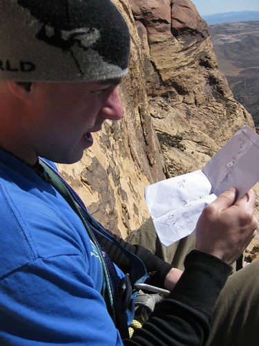 Shawn, consulting the topo on Eagle Dance, Oak Creek Canyon, Red Rock NV