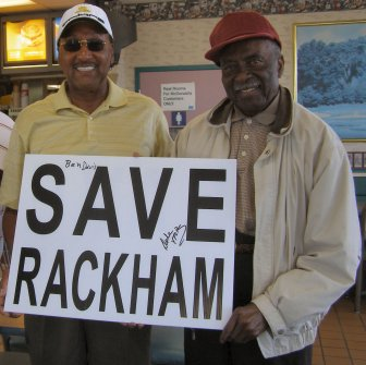 Four Tops member Abdul Duke Fakir (left) and Ben Davis, long time Rackham golf pro, show their support for saving Rackham.  Credit:  www.saverackham.com