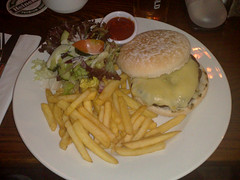 Beef burger at the Cameo Bar, Leith, Edinburgh