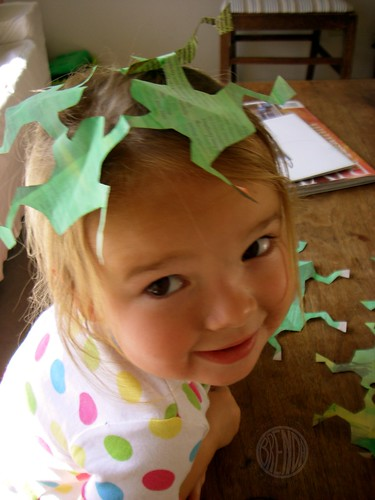 frogs on her head, frogs in her bed