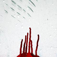 Waiting for rain (daliborlev) Tags: flowers red abstract rain square urbandecay dirty minimal plastic brno dirt minimalism simple dropsofwater feelers mundanedetail drippingpaint