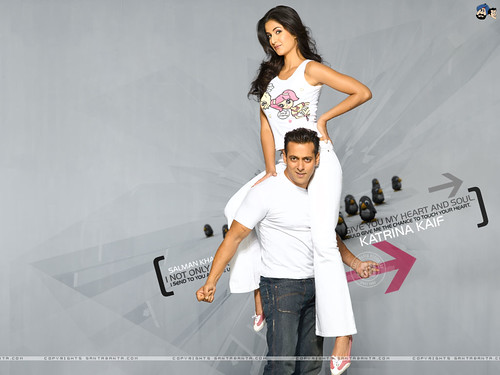 Katrina Kaif sitting on the shoulder of Salman Khan - wallpaper