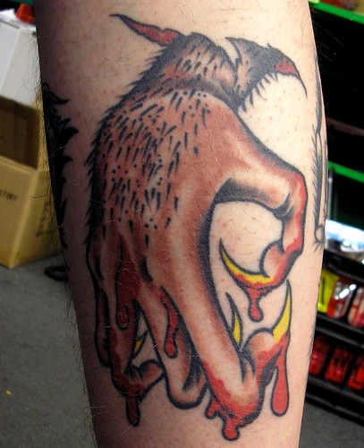 Pete's Wolfman Hand Tattoo