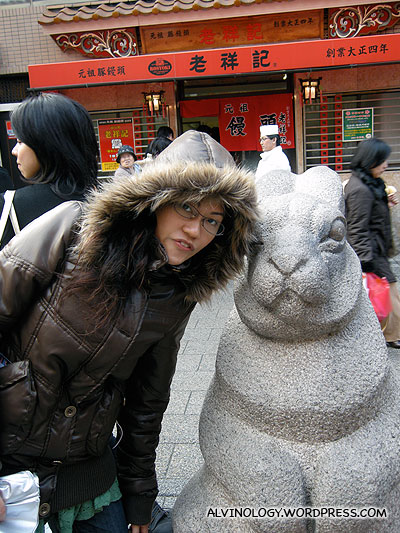 Statue of the rabbit - there are statues of all 12 of the Chinese zodiac animals