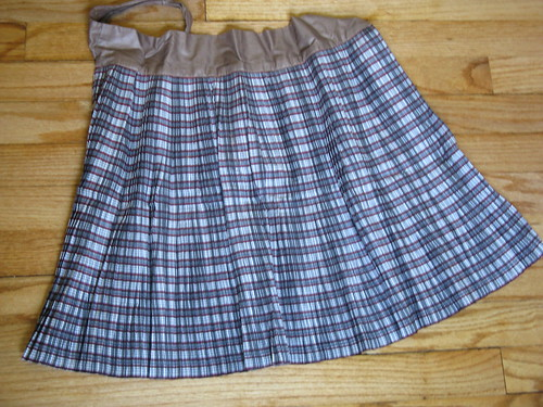 vintage apron-gray/red stripe
