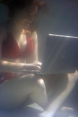 Poolside Processor 4 (MrBobDobolina) Tags: red woman apple wet water pool girl computer powerbook underwater laptop laptops swiming liquidated underwatercomputer welsme