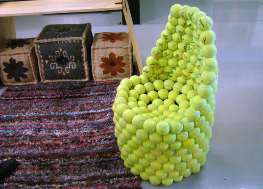 Hugh Hayden's Tennis Ball Chair, funature, bklyn designs, reclaimed materials