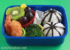 Fried shrimp bento lunch for preschooler
