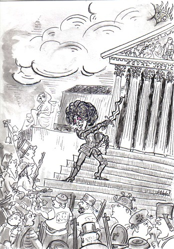 line drawing of Orly Taitz Storming the Supreme Court