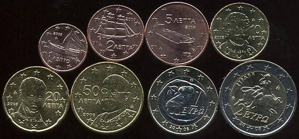 Sada mincí 1 cent - 2 euro Grécko 2008