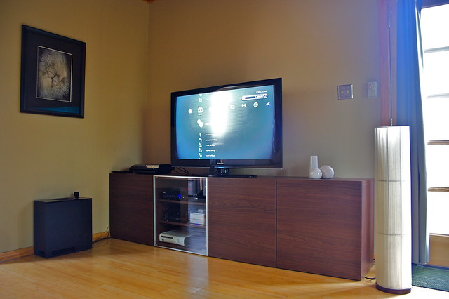 ikea home television tv media theater raw furniture sony samsung xbox center macmini livingroom entertainment hometheater lcd playstation hdtv besta entertainmentcenter unit ps3 playstation3 materialpossessions vibecentral mediaunit