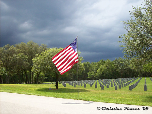 American Flag in Sun at Florida National Cemetery