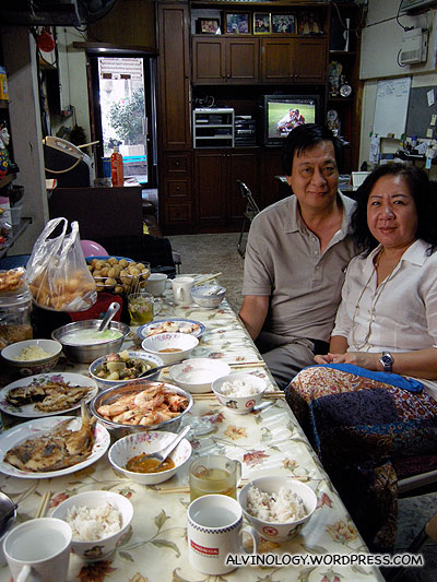 My parents with our lunch - look at the amount of food! Theres more to come!
