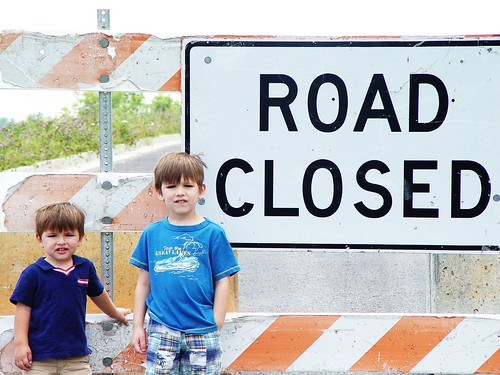 road closed. boys