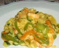Risotto con gamberi, zucchine e fiori di zucca