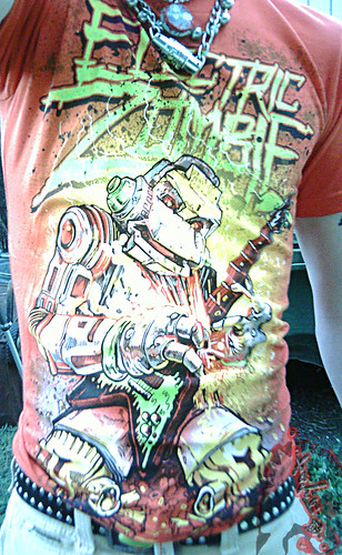 """Electric Zombie"" limted edition - Shock Wave Orange { Metalhead }  Tee .. design by Kyle Crawford //  B  (( 2009 ))"