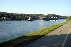 Barge on the Cape Cod Canal as seen from the bike path.