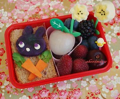 Purple Bunny with Carrots Bento (sherimiya ) Tags: cute bunny fruit lunch kid yummy toddler berries purple potato snack bento carrots okinawan lychee obento sherimiya