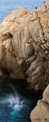 Xoff!! (xilefe) Tags: boy sea water photoshop mar jump agua rocks stones salt salto chico montaje aigua rocas noi piedras roques pedres muntatge