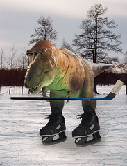 What really happened to the dinosaurs … (Ruby.W.) Tags: ice hockey photoshop dinosaur skate trex rmw