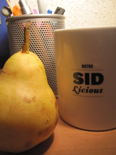Pear and tea from the bistro (free)