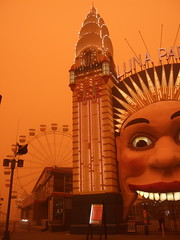 Sydney Luna Park in Dust Storm (anna-cathryn) Tags: park orange storm point sydney luna dust milsons