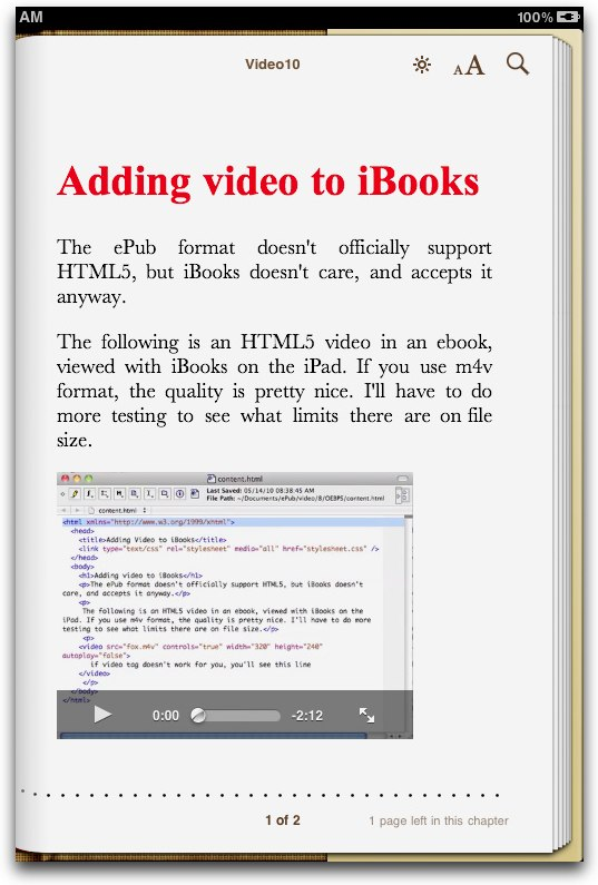 Adding video to iBooks for iPad
