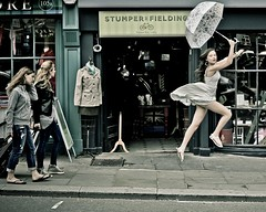 Can't stop, must fly (photocillin) Tags: uk england london public fashion shop youth umbrella shopping fly jump model dress britain beth mary young mini smith retro portobello leap resa sauter jette poppins levitiate