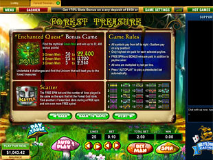 free Forest Treasure slot game paytable
