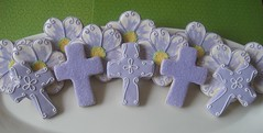First Communion Cookies (Songbird Sweets) Tags: flowers purple crosses sugarcookies firstcommunion