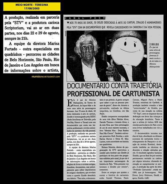 """""""Documentário conta trajetória profissional de cartunista"""" - Meio Norte - 17/08/2003"""