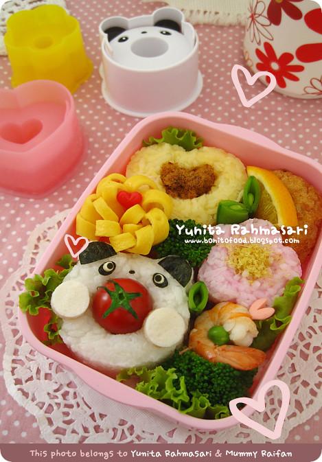 Panda - Flower - Heart Bento