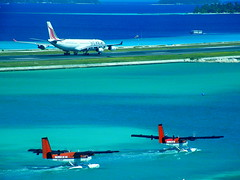 getting ready for departure (╚ DD╔) Tags: travel sea water coral paradise airbus destination reef maldives srilankan airtaxi dehaviland maldivian